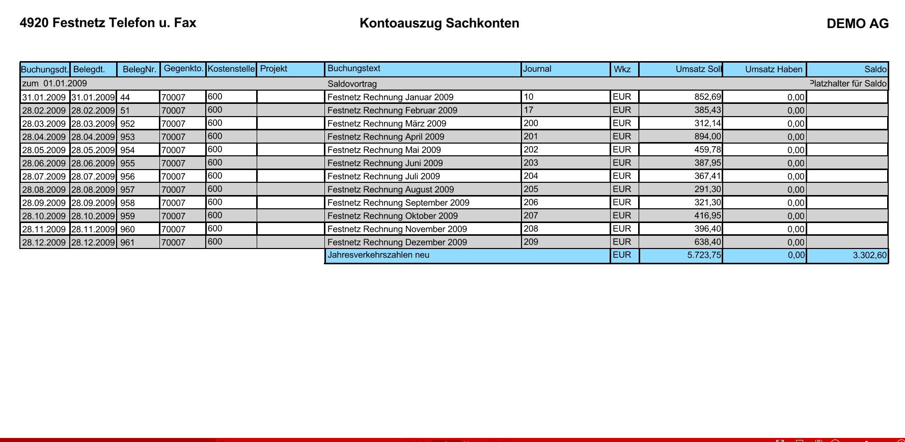 Report-Kontoauszug-Sachkonten